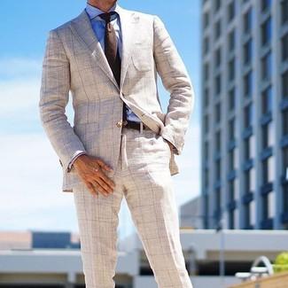 How to wear: beige check blazer, blue dress shirt, beige check dress pants, dark brown wool tie