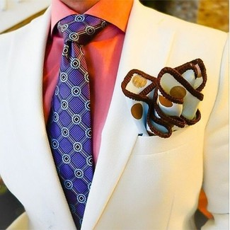How to wear: beige blazer, orange dress shirt, violet print tie, white polka dot pocket square