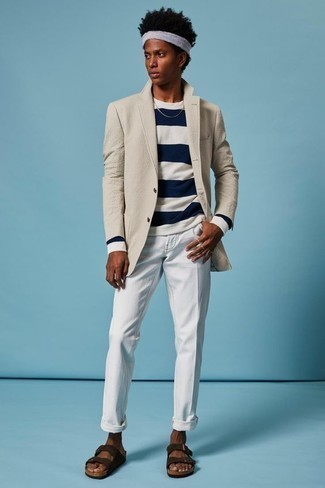 How to Wear a Long Sleeve T-Shirt For Men: Combining a long sleeve t-shirt with white chinos is an awesome option for a laid-back but seriously stylish outfit. A pair of dark brown suede sandals instantly steps up the appeal of your ensemble.