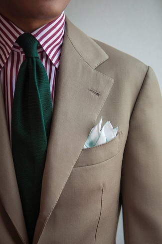 How to wear: beige blazer, white and red vertical striped dress shirt, dark green knit tie, mint pocket square