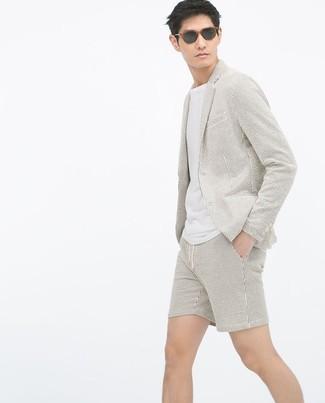 Men's Beige Seersucker Blazer, White Crew-neck T-shirt, Beige Seersucker Shorts, Black Sunglasses