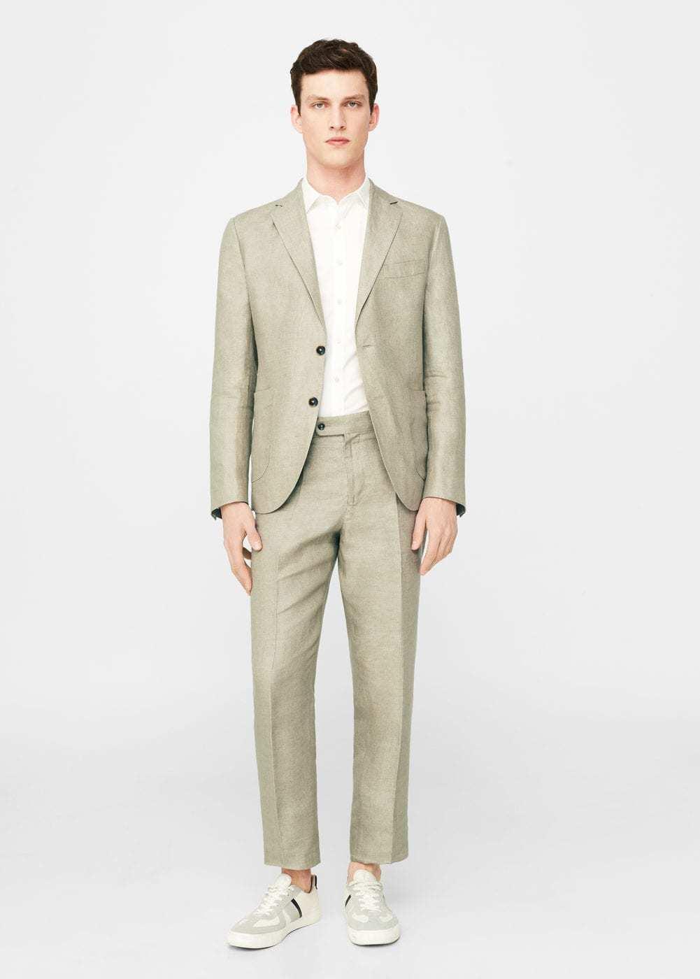 ea37b7bb3a8f Men's Beige Linen Blazer, White Short Sleeve Shirt, Beige Linen Dress Pants,  Beige