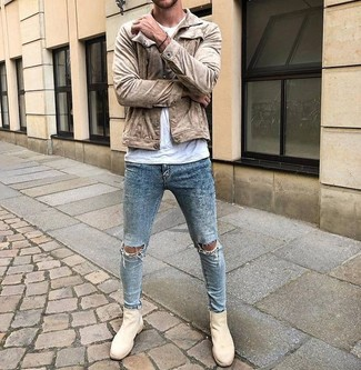 Beige Suede Chelsea Boots Outfits
