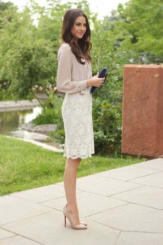 How to wear: beige button down blouse, white lace pencil skirt, beige leather pumps, navy leather clutch