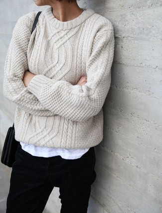 To create an outfit for lunch with friends at the weekend consider pairing a beige knit jumper with jeans.
