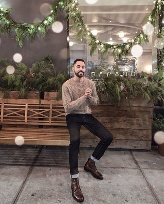 Men's Looks & Outfits: What To Wear Smart Casually: A beige cable sweater and black jeans are among the key elements in any modern man's great off-duty sartorial arsenal. A great pair of brown leather casual boots is an effective way to add a little kick to the look.