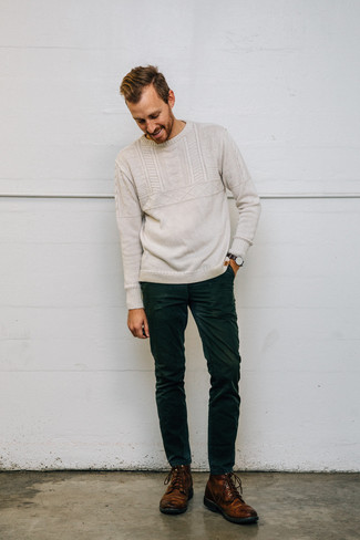 How to wear: beige cable sweater, dark green corduroy jeans, brown leather casual boots