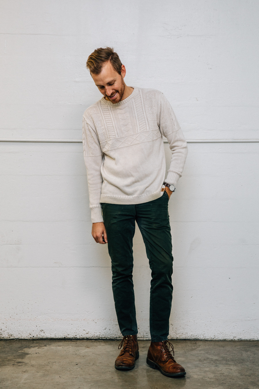 Men's Beige Cable Sweater, Dark Green Corduroy Jeans, Brown Leather Casual  Boots | Men's Fashion