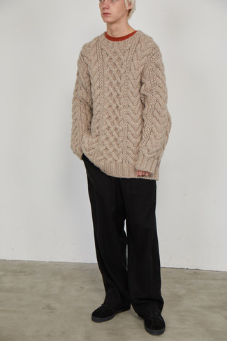 Cable Sweater Outfits For Men: Go for a cable sweater and black chinos to pull together a really dapper and current laid-back outfit. Black suede low top sneakers are guaranteed to add an air of stylish casualness to this ensemble.