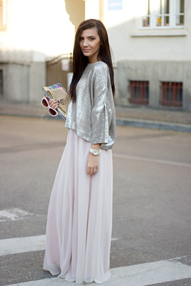 How to Wear a Beige Chiffon Maxi Skirt (5 looks) | Women's Fashion
