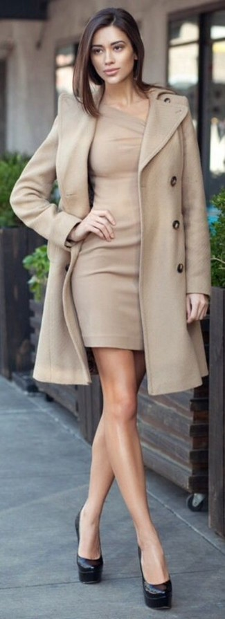 Pairing a beige coat with a nude bodycon dress is a comfortable option for running errands in the city. A pair of black leather pumps will seamlessly integrate within a variety of outfits.