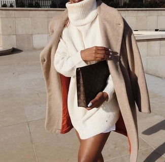 How to wear: beige coat, beige knit sweater dress, dark brown print leather clutch