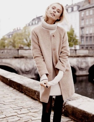 How to wear: beige coat, beige sweater dress, black wool tights
