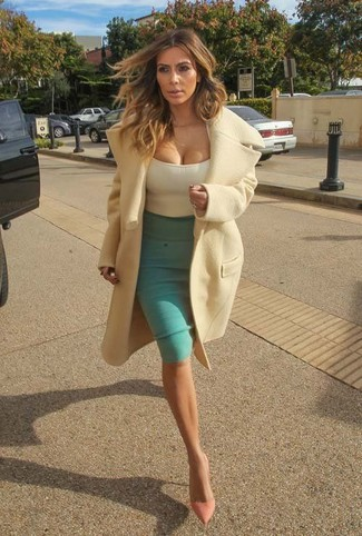 Kim Kardashian wearing Beige Coat, Beige Tank, Green Pencil Skirt, Pink Leather Pumps