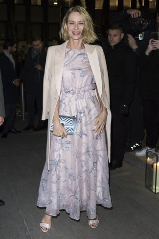 How to wear: beige coat, pink embroidered evening dress, beige leather heeled sandals, light blue quilted leather clutch