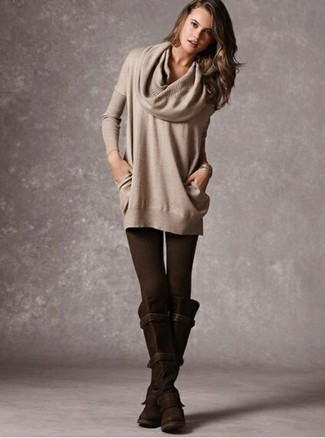 Brown Leggings Warm Weather Outfits: A beige cowl-neck sweater and brown leggings are a nice go-to ensemble to keep in your casual closet. To give your overall outfit a more refined touch, complement your getup with dark brown suede knee high boots.