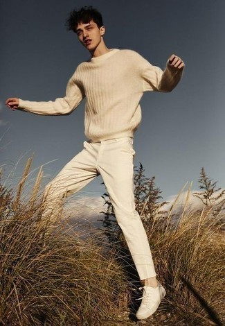Beige Crew-neck Sweater Outfits For Men In Their Teens: Why not choose a beige crew-neck sweater and beige chinos? As well as super functional, these two items look awesome when paired together. For something more on the cool and laid-back side to finish your getup, throw a pair of beige canvas low top sneakers in the mix. Ideal if you're on the lookout for some incredibly inspiring teen style.
