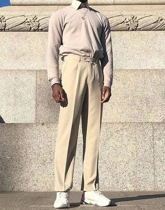 How to wear: beige crew-neck sweater, beige dress shirt, beige dress pants, white athletic shoes