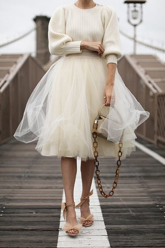 How to wear: beige crew-neck sweater, beige tulle full skirt, beige suede heeled sandals, beige leather crossbody bag