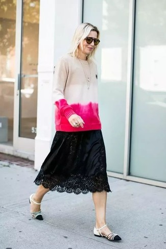 How to wear: beige tie-dye crew-neck sweater, black lace midi skirt, black and white leather ballerina shoes, brown sunglasses