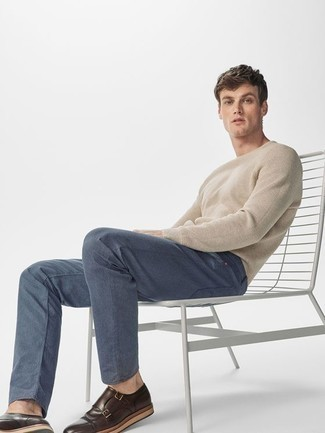 How to Wear Dark Brown Leather Double Monks: This combo of a beige crew-neck sweater and blue chinos is a good getup for off duty. Unimpressed with this look? Introduce dark brown leather double monks to switch things up.