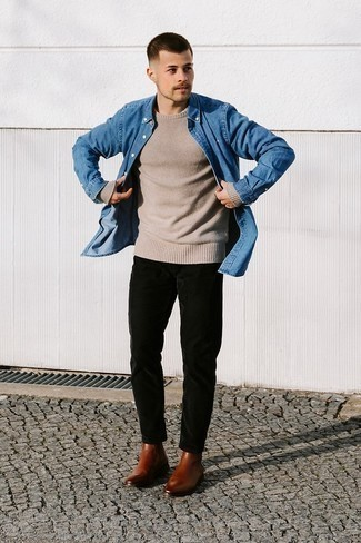Blue Denim Shirt Smart Casual Outfits For Men: A blue denim shirt and black corduroy chinos paired together are a match made in heaven for those dressers who appreciate relaxed combos. If you want to easily polish off this outfit with footwear, complete this getup with brown leather chelsea boots.