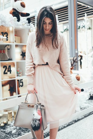 How to wear: beige crew-neck sweater, pink chiffon midi skirt, grey leather tote bag, black leather belt