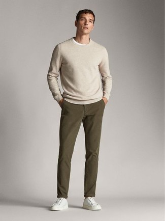 Men's Beige Crew-neck Sweater, White Crew-neck T-shirt, Olive Chinos, White Canvas Low Top Sneakers