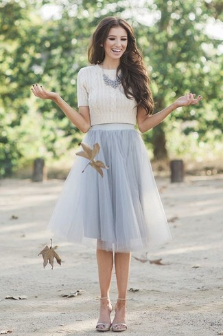 How to wear: beige cropped sweater, grey tulle full skirt, beige leather heeled sandals, grey necklace
