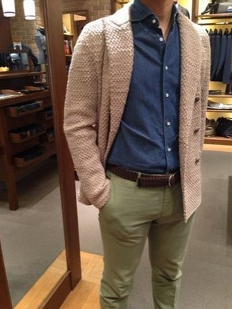 How to wear: beige double breasted cardigan, navy denim shirt, olive chinos, dark brown woven leather belt