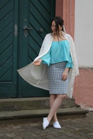 How to wear: beige duster coat, light blue off shoulder top, light blue print pencil skirt, white plimsolls