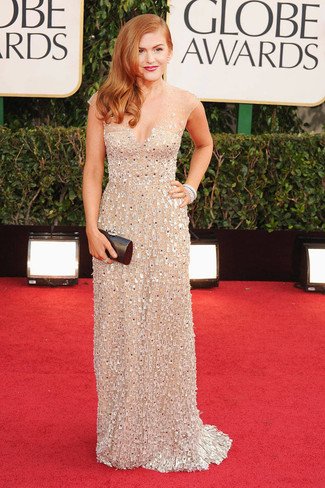 Isla Fisher wearing Beige Embellished Evening Dress, Black Leather Clutch
