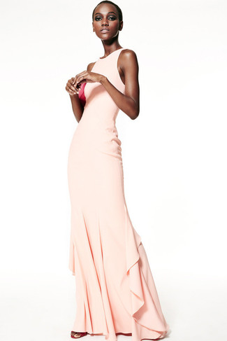 How to wear: beige evening dress, hot pink leather heeled sandals, hot pink leather clutch