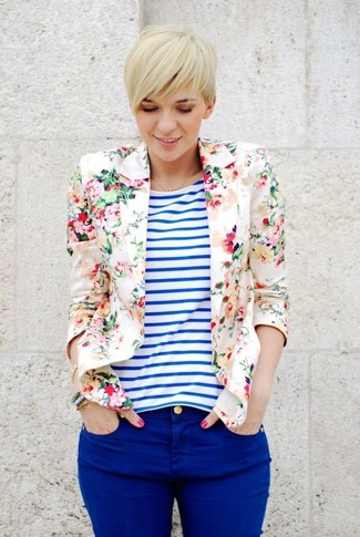 Women's Beige Floral Blazer, White and Blue Horizontal Striped Crew-neck T-shirt, Blue Skinny Jeans