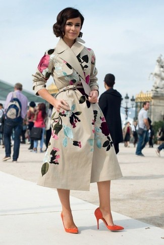 Miroslava Duma wearing Beige Floral Trenchcoat, Orange Suede Pumps, Beige Leather Belt