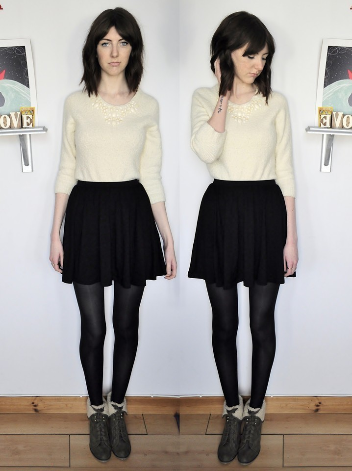 Women 39 s beige fluffy crew neck sweater black skater skirt - Beige kombinieren ...