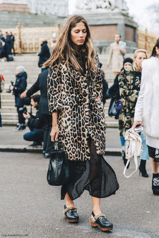 How to wear: beige leopard fur coat, black mesh midi skirt, black leather platform loafers, black leather bucket bag