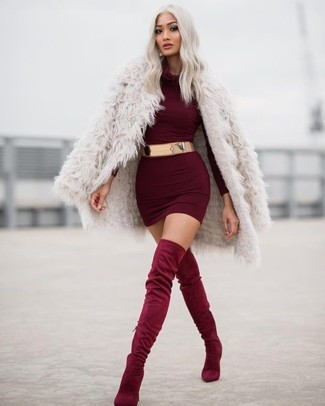 Try pairing a burgundy bodycon dress with a burgundy bodycon dress for a work-approved look. Complement this look with burgundy suede over the knee boots.