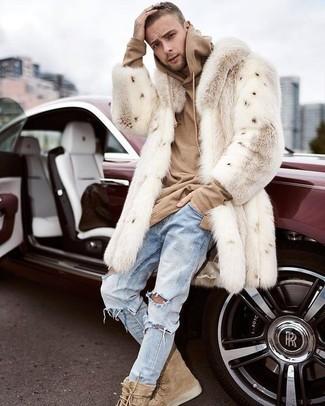 211f7de1e How to wear: beige fur coat, tan hoodie, light blue ripped jeans,