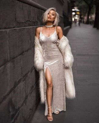 How to wear: beige fur coat, white velvet maxi dress, beige leather heeled sandals, clear choker