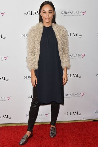 How to wear: beige fur jacket, navy silk shift dress, black leather leggings, silver leather loafers