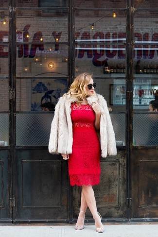 This getup suggests it pays to invest in such items as a women's Gorski Rabbit Fur Short Sleeve Jacket Beige Stripe and a red lace sheath dress. Round off this getup with silver leather heeled sandals. If you feel uninspired by your transitional season fashion options, this getup just might be the inspiration you are looking for.