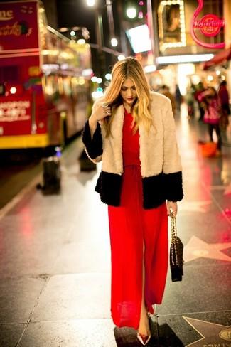 How to wear: beige fur jacket, red slit maxi dress, gold leather pumps, black quilted leather satchel bag