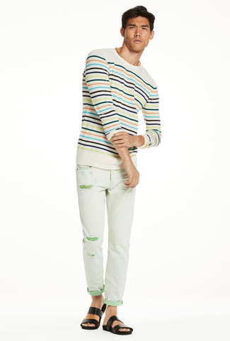 How to wear: beige horizontal striped crew-neck sweater, mint ripped skinny jeans, black leather sandals