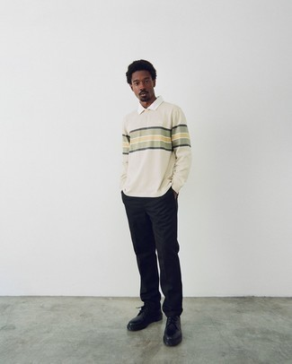 Polo Neck Sweater Outfits For Men: A polo neck sweater and black chinos are absolute must-haves if you're piecing together a classic and casual wardrobe that matches up to the highest fashion standards. Feeling inventive today? Change up your outfit by sporting black chunky leather derby shoes.