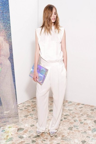 How to wear: beige jumpsuit, silver leather platform loafers, silver leather clutch