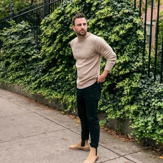 How to wear: beige knit crew-neck sweater, black skinny jeans, tan suede chelsea boots