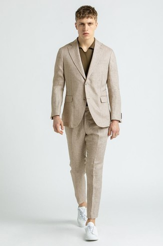 Men's Outfits 2021: This combo of a beige linen suit and a brown polo strikes the perfect balance between dressy and off-duty.