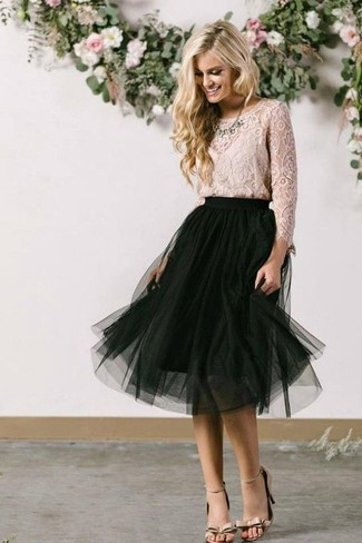 How to wear: beige lace long sleeve blouse, black mesh midi skirt, beige leather heeled sandals, clear necklace