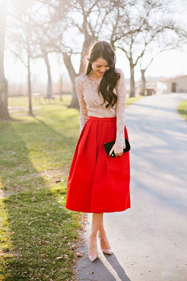 How to Wear a Red Full Skirt (20 looks) | Women's Fashion